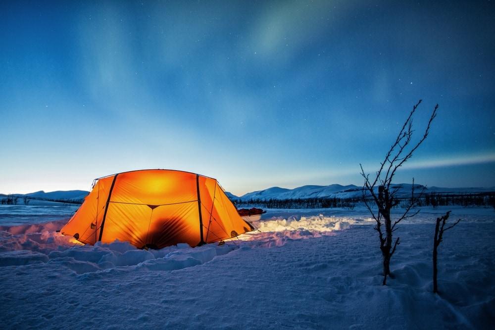 Tent under a dusk sky