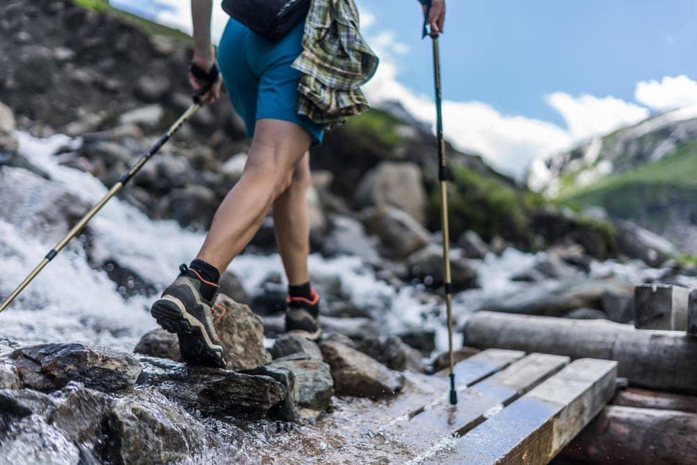 Hiker using a trekking pole