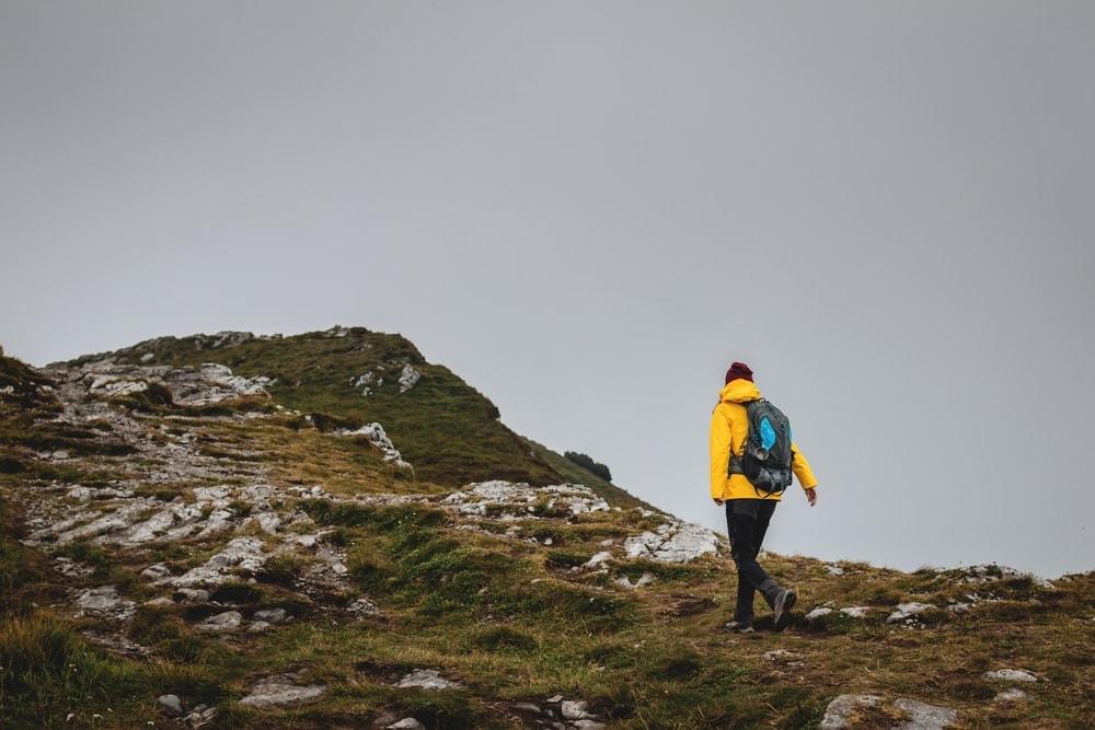 Hiker wearing a jacket hiking
