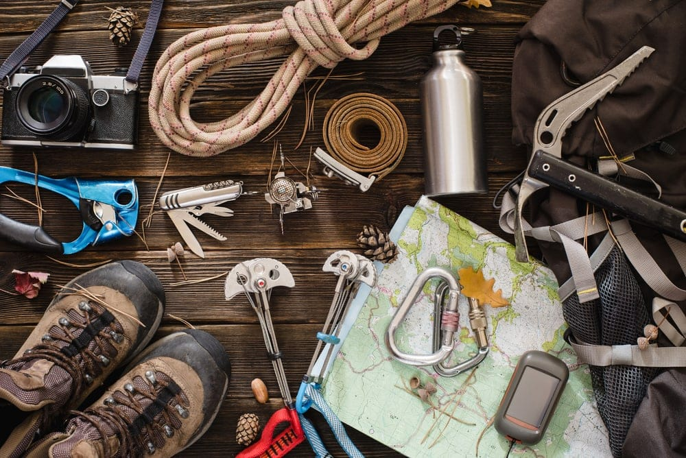 Hiking gears spread out