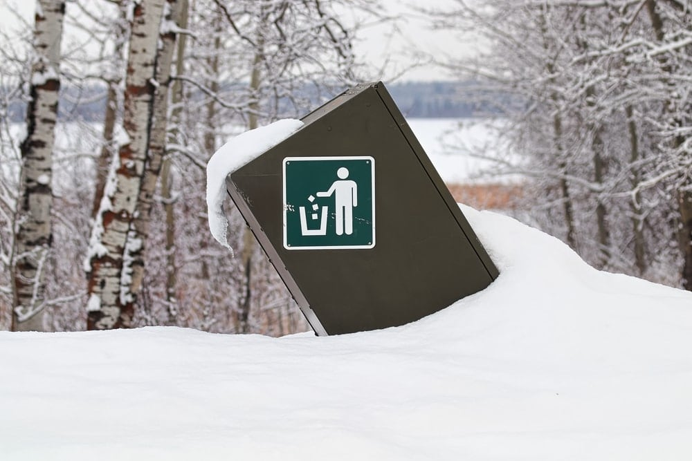 Garbage on a campground during winter camping