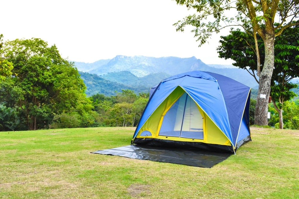 Camping Tent with tarp underneath