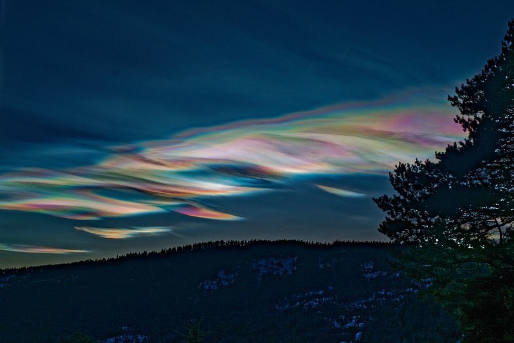 Nacreous clouds or mother of pearl clouds