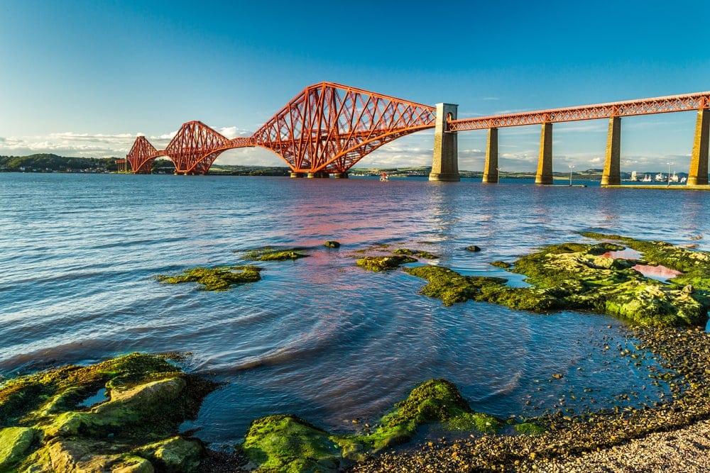 Small bay near Firth of Forth Bridge in Scotland