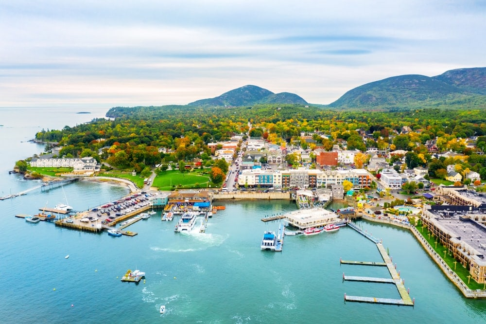 Aerial view of Bar Harbor in Maine