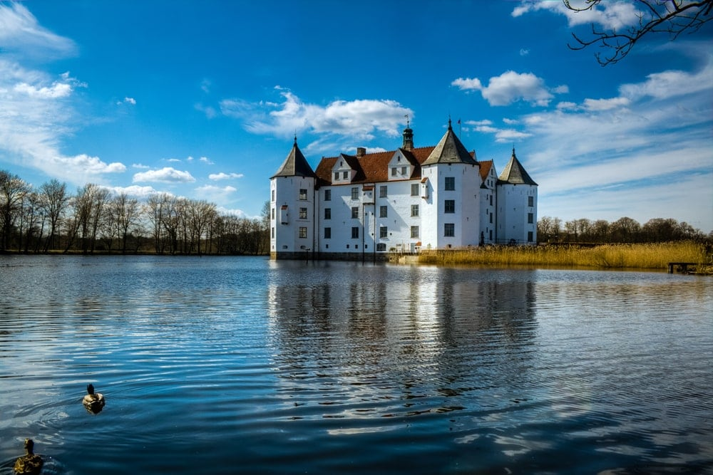 The moated castle in Glücksburg, Baltic Sea