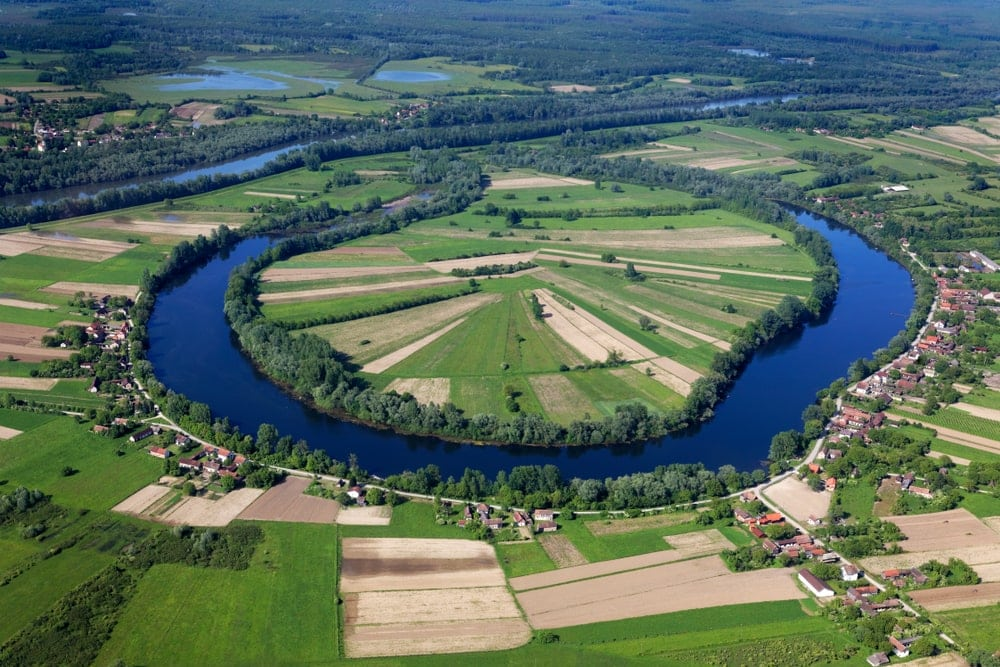 Oxbow lake with the village in Croatia