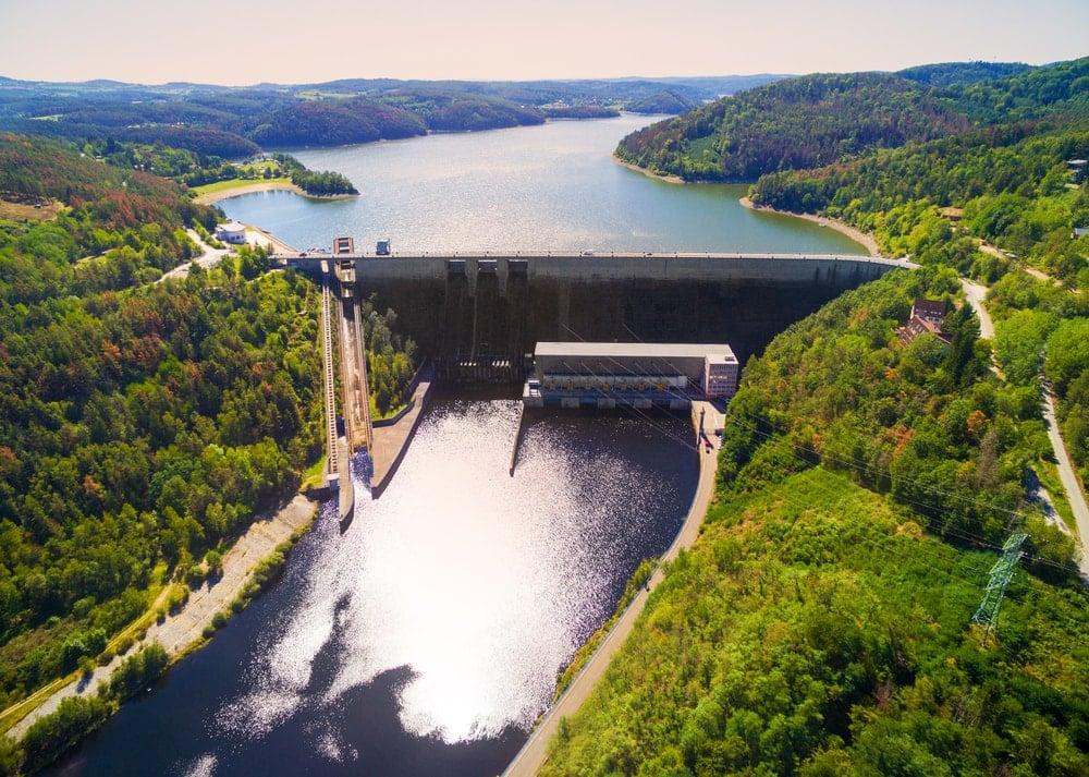 Aerial view of Orlik Reservoir on Czech Republic
