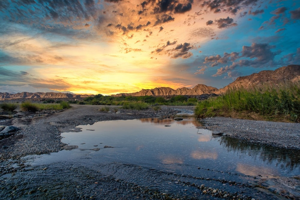 Wadis and washes in a sunset landscape