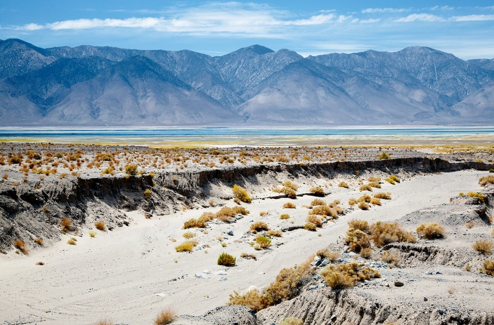 Dry arroyo. a type of bodies of water, in a desert overlooking Owens Lake and Sierra Nevadas, CA