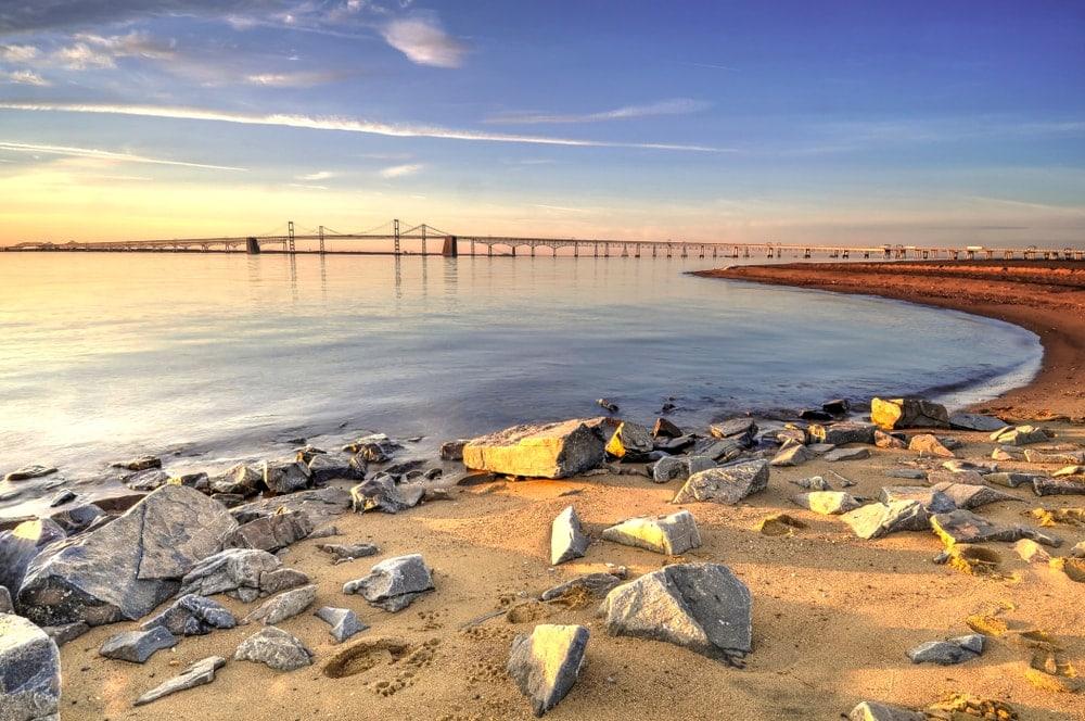 Chesapeake Bay on a beautiful golden sunrise