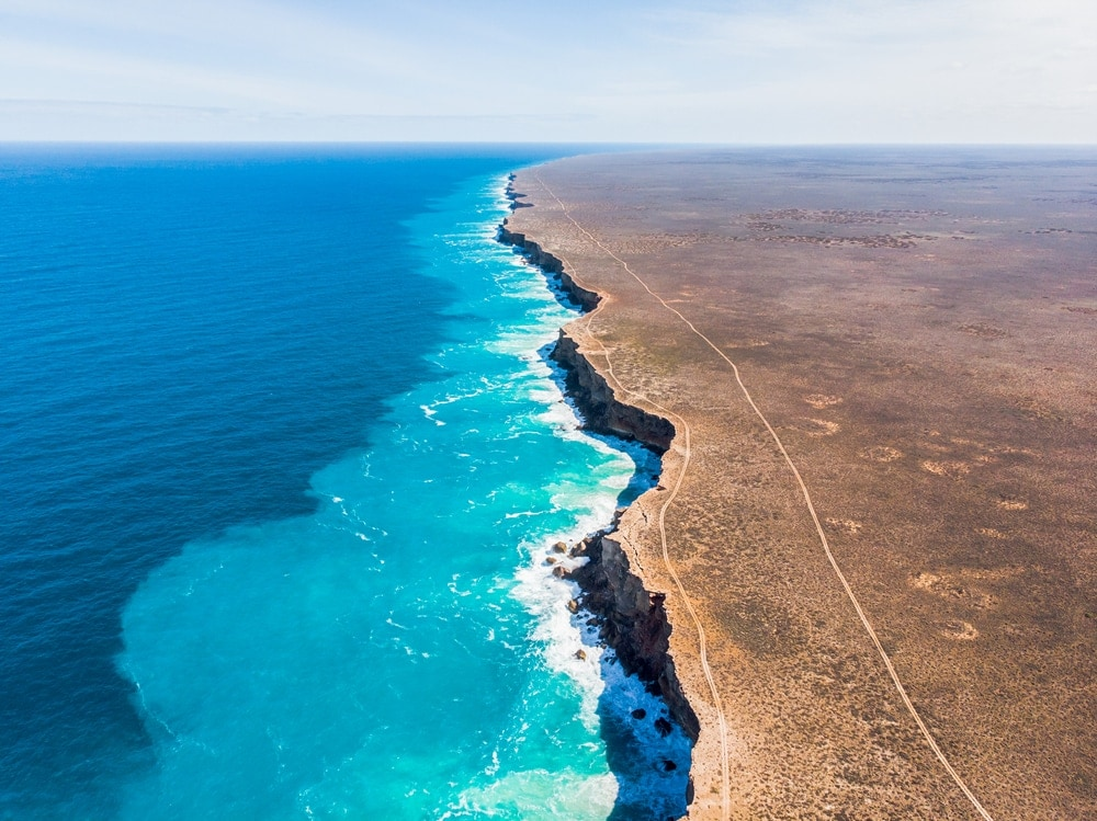 The view from above of the coast near Nullarbor plain, Australia, featuring bight