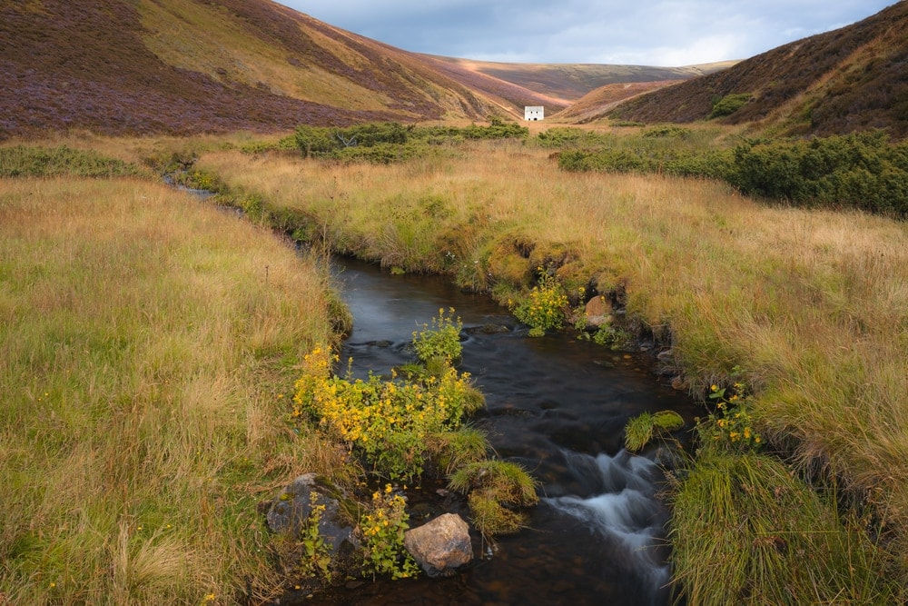 Burn or a small stream in the rolling hills countryside landscape of Cairngorms National Park, Scotland