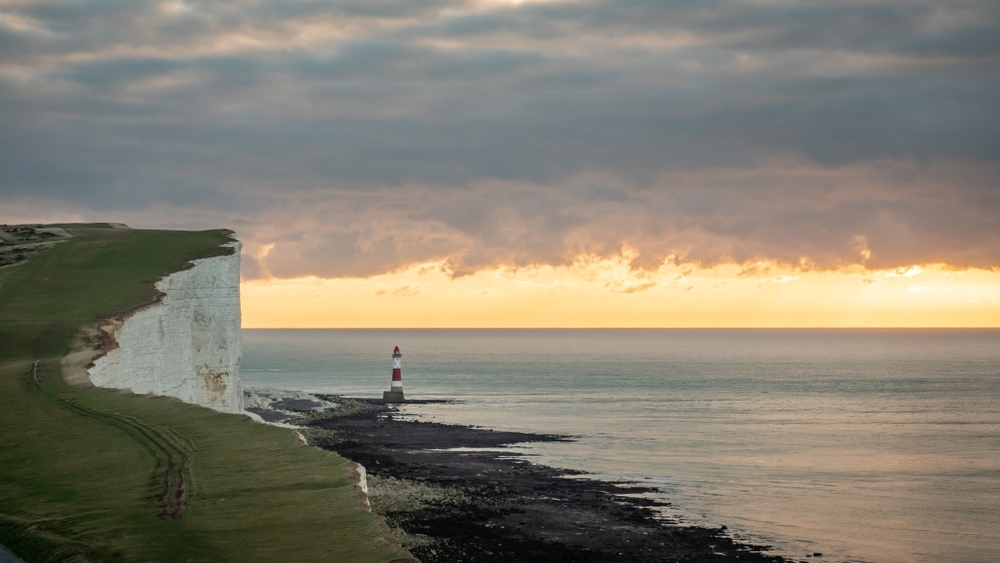 Early morning view over the English Channel with its landmark lighthouse.