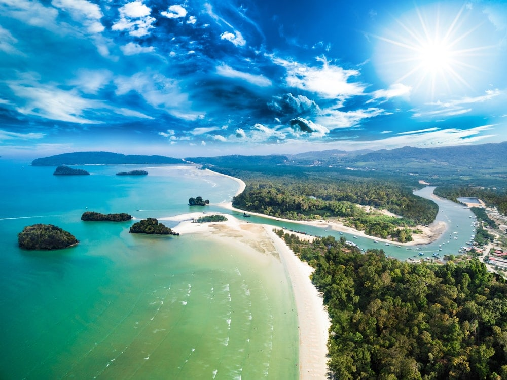 Aerial view of estuary, river, beach and islands with deep blue sky