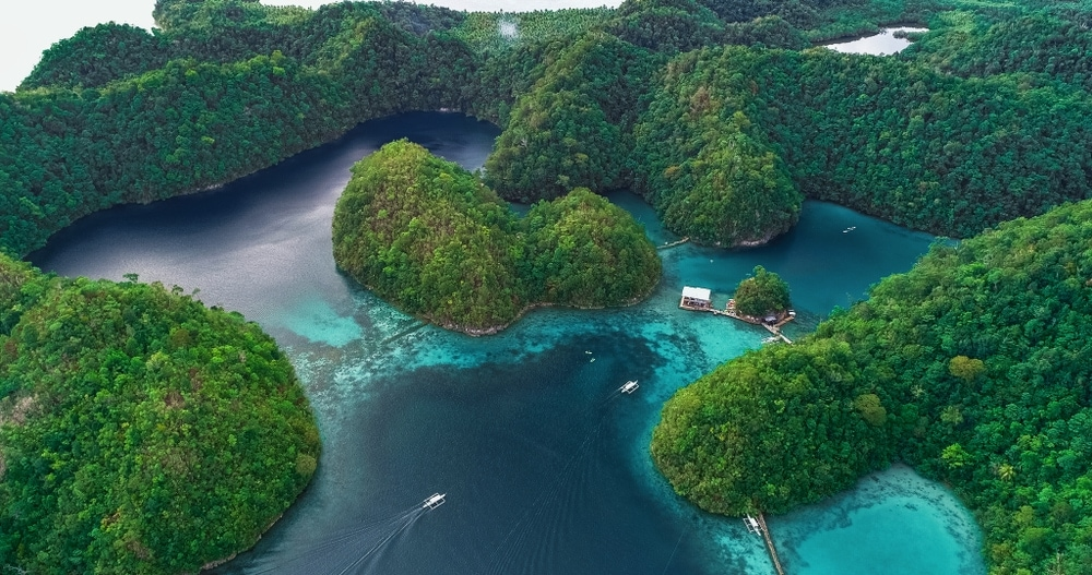 Aerial view of Sugba lagoon in Siargao Philippines