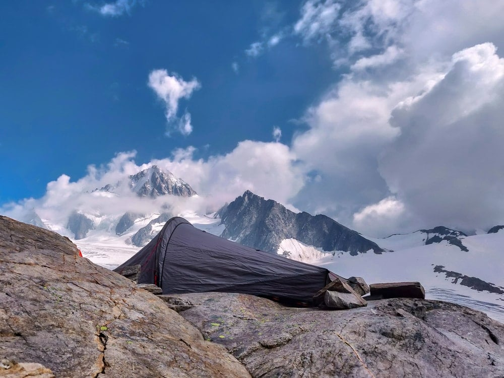 A bivy on top of the mountain
