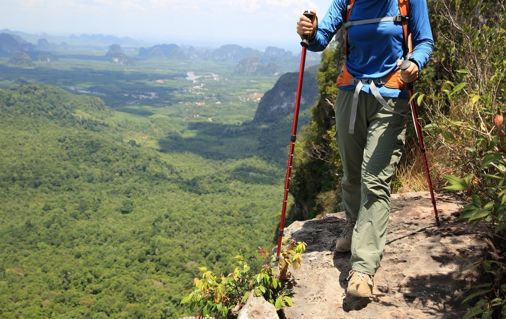 Hiker wearing proper hiking clothes and a hiking pole going for the summit