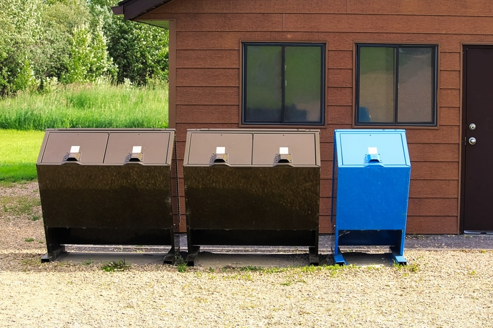 Bear-proof garbage containers in a campsite