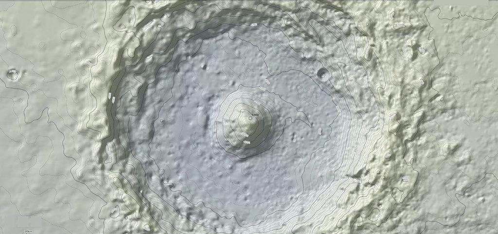 Complex crater impact landform