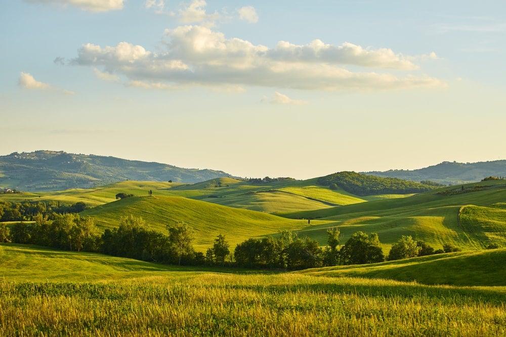 Hills landform on a sunny day