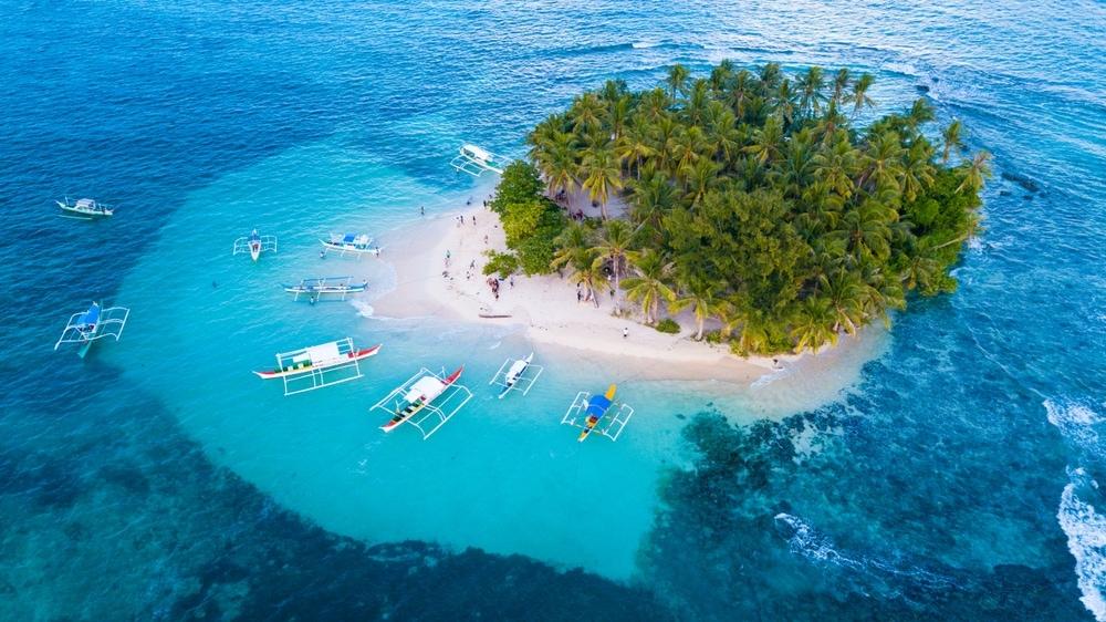 Island coastal landform in Philippines
