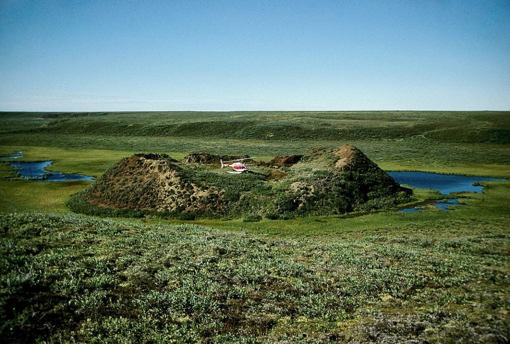 Pingo cryogenic landform in Mackenzie Delta