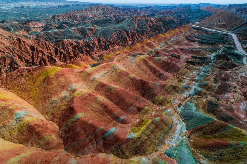 Aerial view on the colorful rainbow mountain landform of Zhangye danxia landform geological park