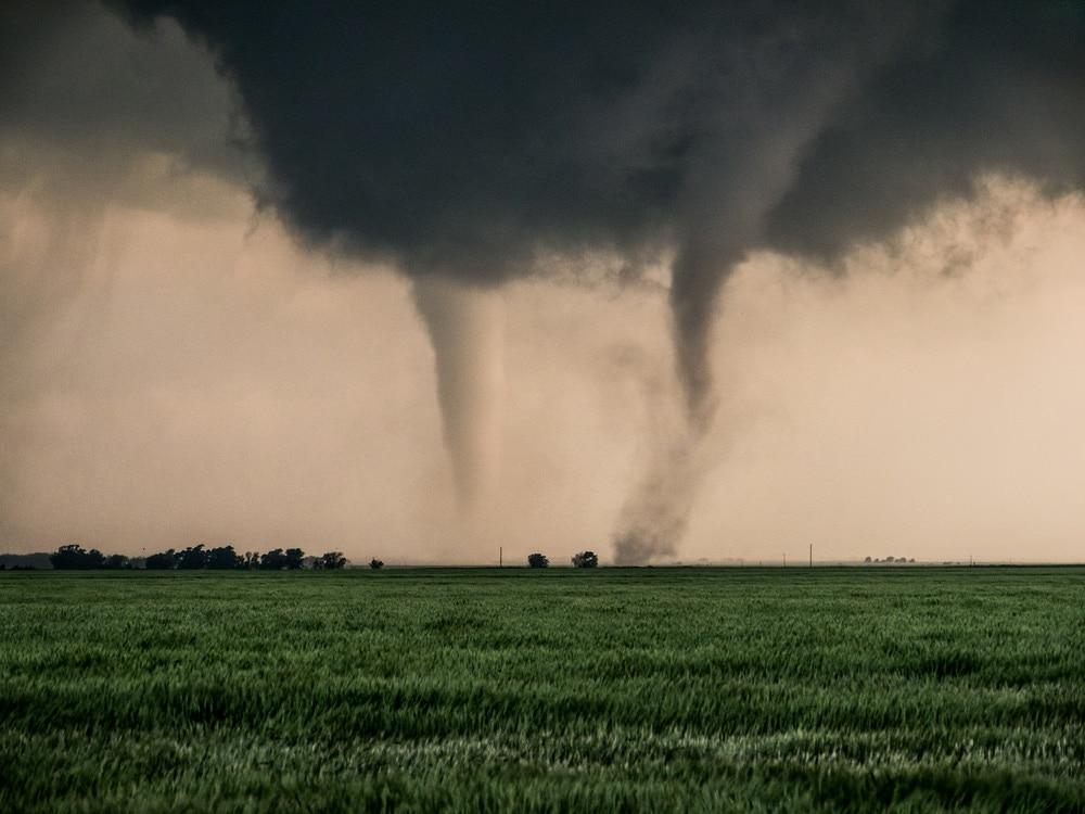 A pair of tornadoes taking a destructive path through a farmyard