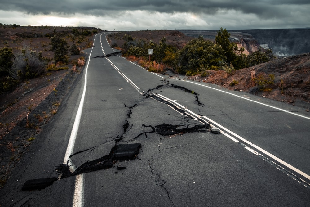 Damaged road in a National Park after an earthquake