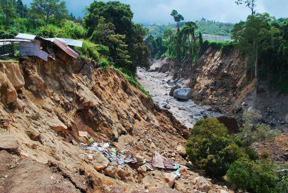 Damaged houses and erosion caused of the landslide