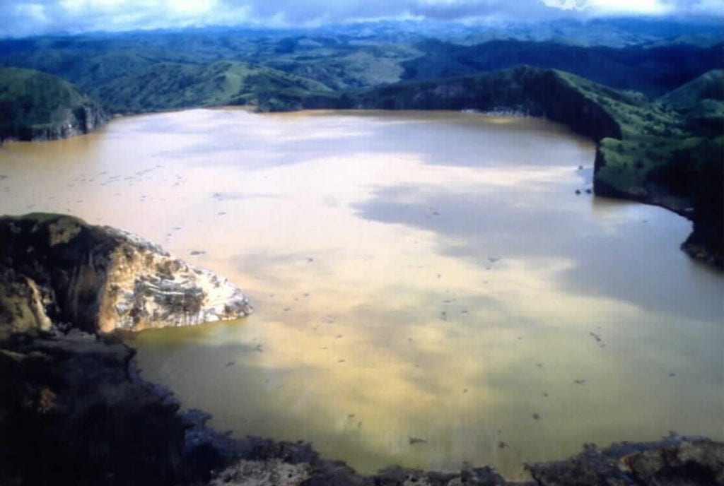 Aerial view of lake Nyos, where limnic eruption occured once