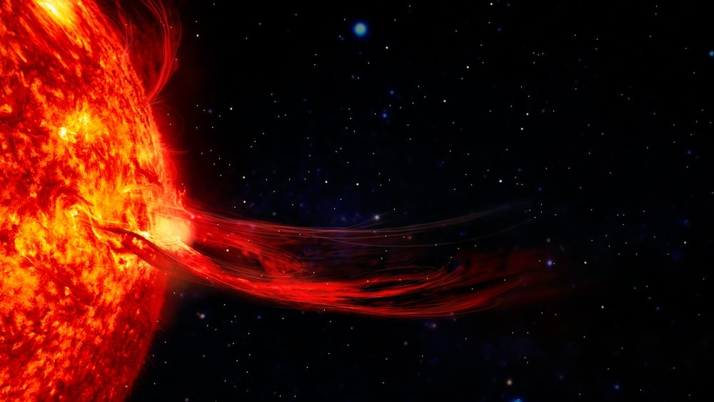 Solar flare in the outer space
