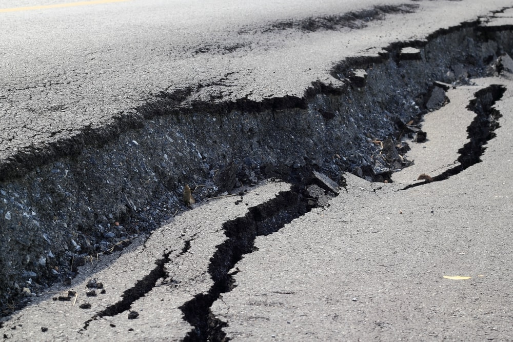 Road collapsed and cracked due to subsidence