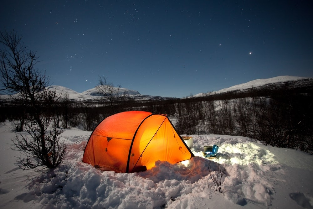 Tent camping on winter