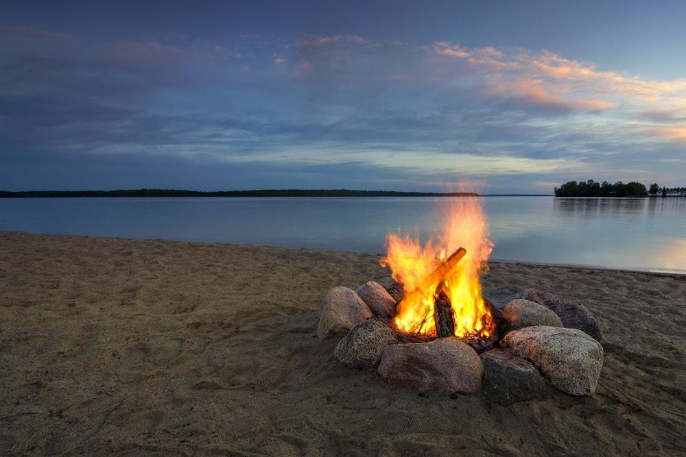 Campfire in the beach
