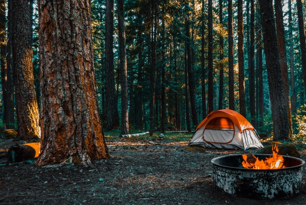 orange tent in the woods beside a campfire