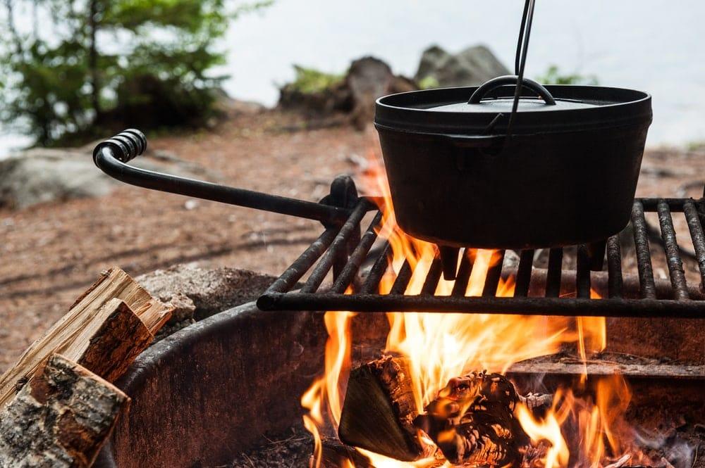 Dutch oven over a campfire
