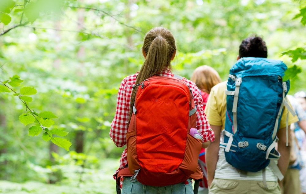 Friends on a hiking backpack