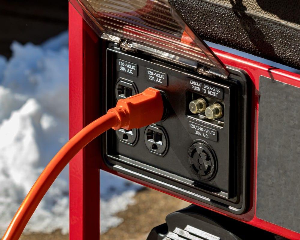 Close up of generator circuits or GFCI