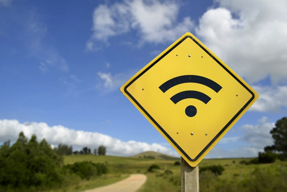 Road sign with wifi icon