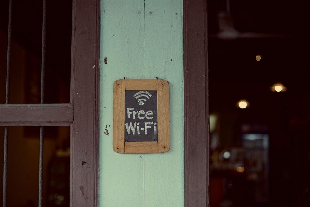 Free wifi sign in coffee shop