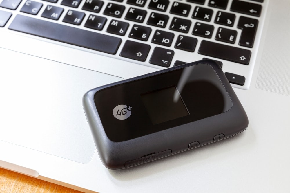 Portable wifi router on a laptop