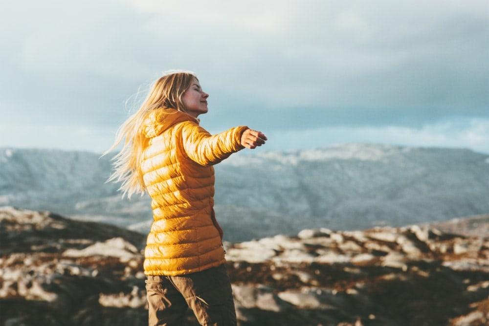 Woman wearing a patagonia down jacket