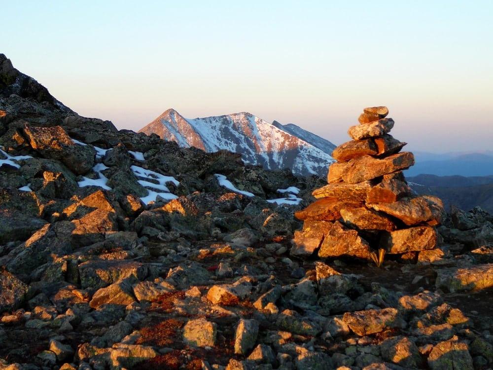 Rock cairns on the mountain use as trail guide