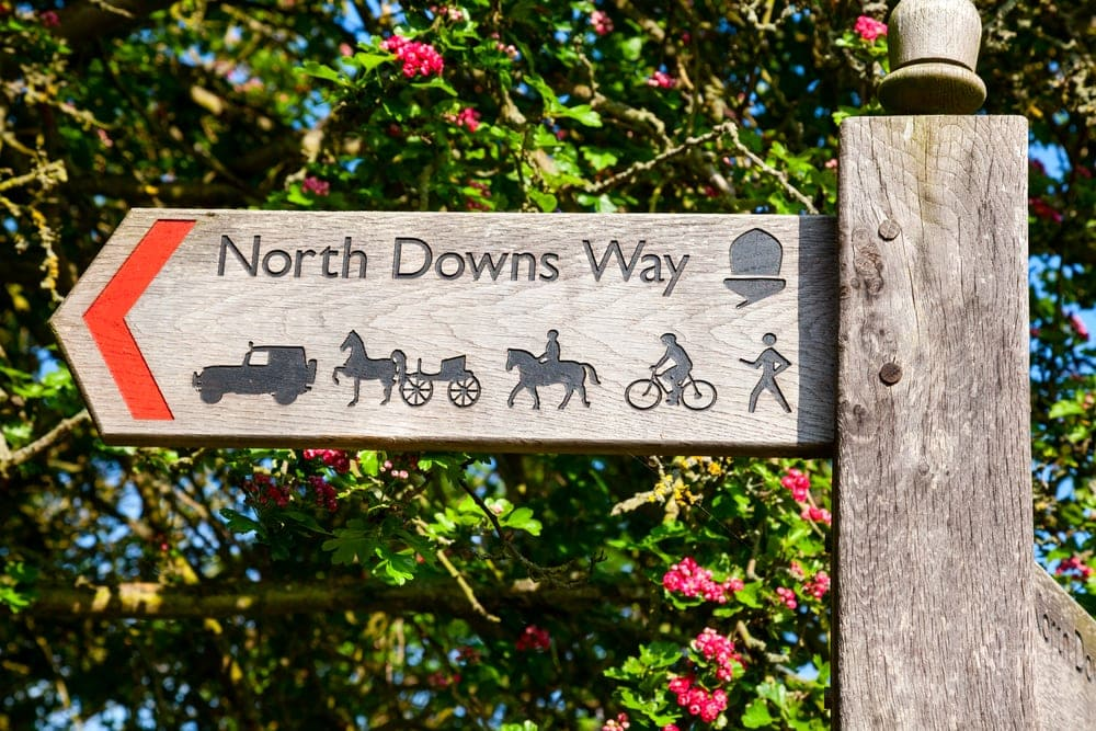Trail symbols use for North Downs Way Trail allowing car, horse, cyclist and hikers