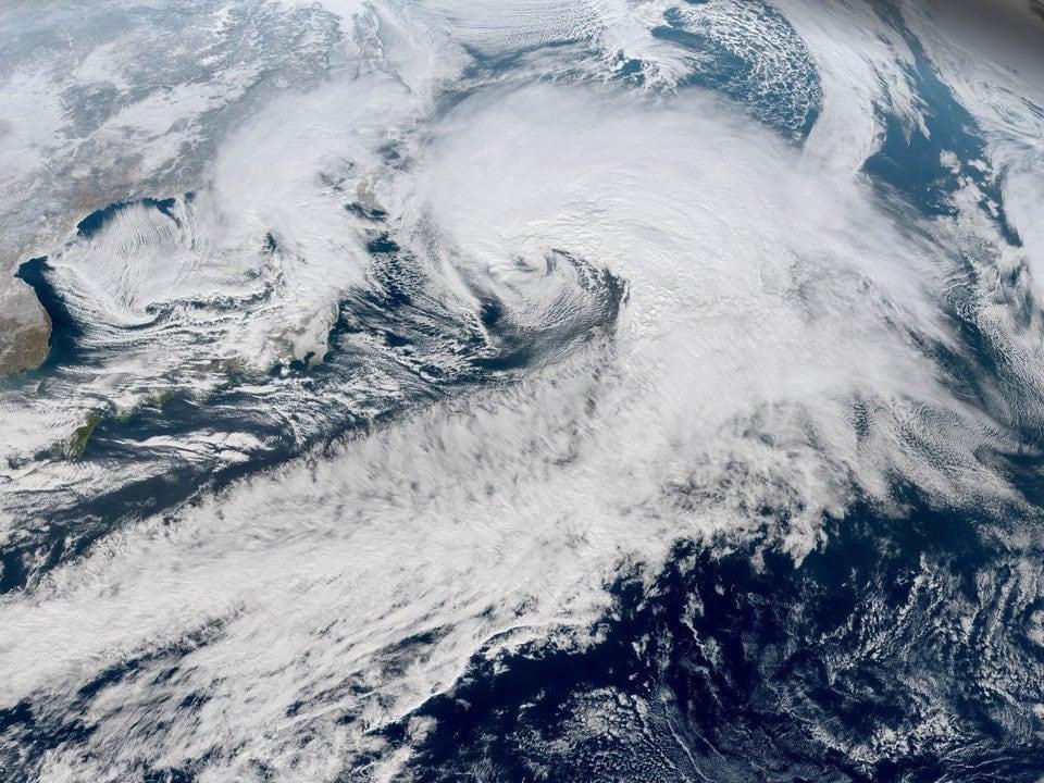 Satellite view of mid latitude cyclones
