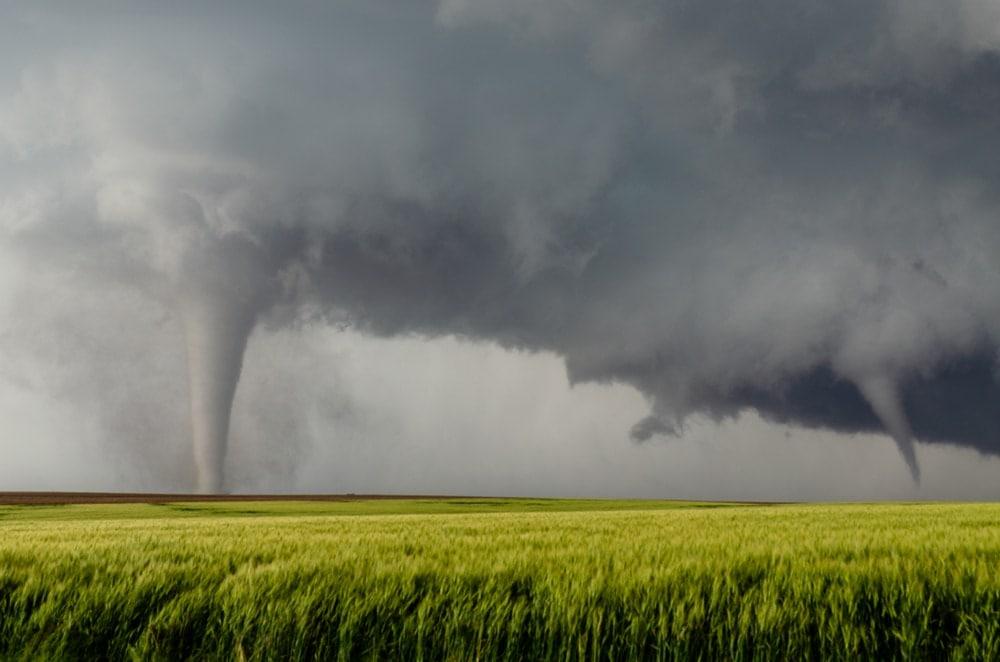 2 tornadoes on fields