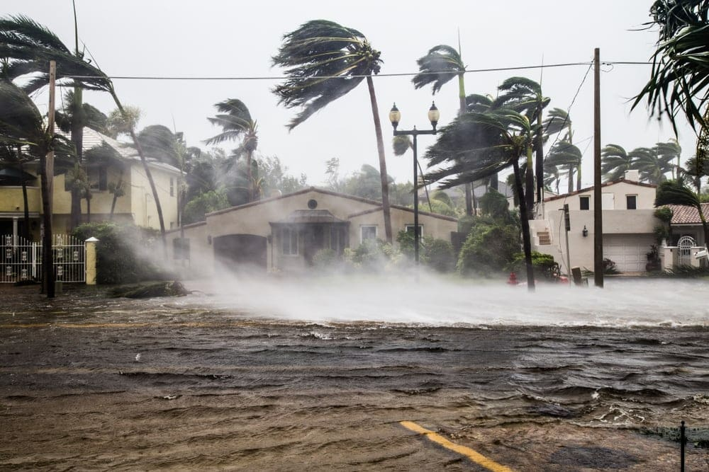 Flooded street and strong wind during  a tropical cyclone