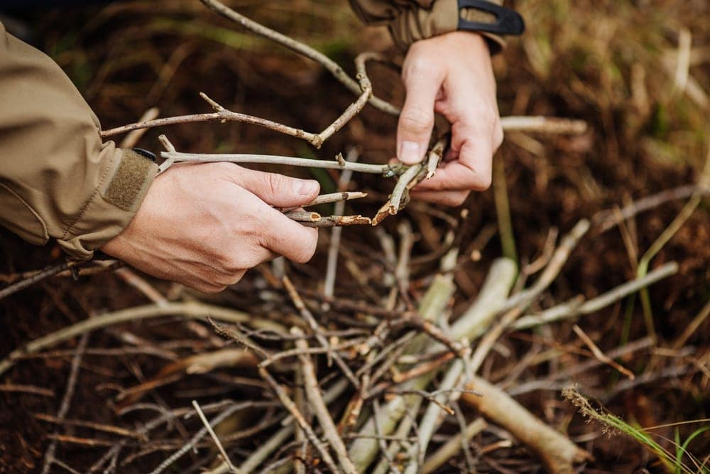 Man holding and gathering branches to start fire